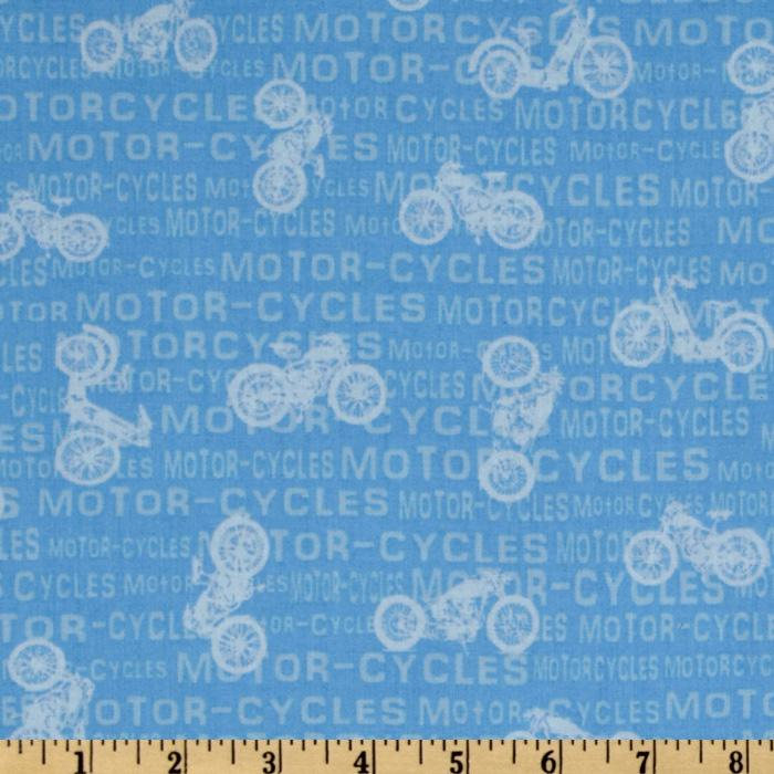 Vintage Motorcycles Words Light Blue