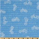 FT-831 Vintage Motorcycles Words Light Blue