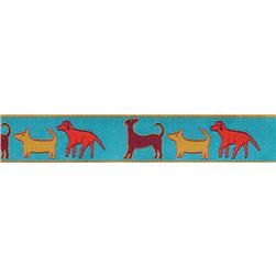 "7/8"" Sue Spargo Ribbon Dogs Orange/Turquoise"