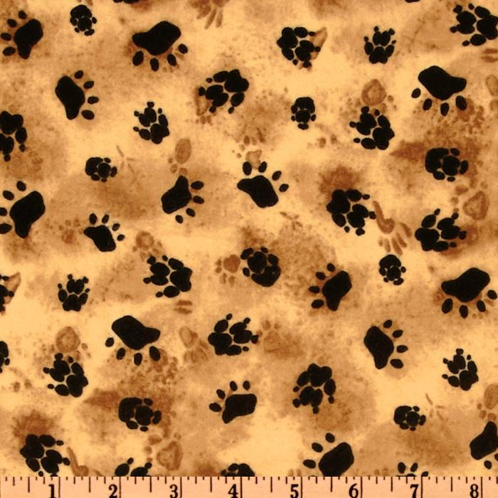 Timeless Treasures Cabin Fever Flannel Paws Tan