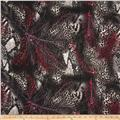 Promenade Rayon Challis Cheetah Feathers Cherry/Grey
