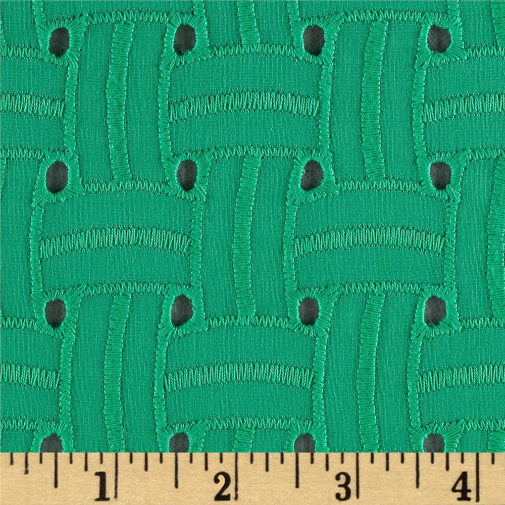 Basket Weave Cotton Eyelet Green