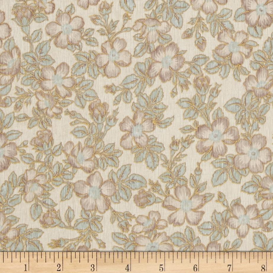 Claridge Manor Metallic Blossoms Cream