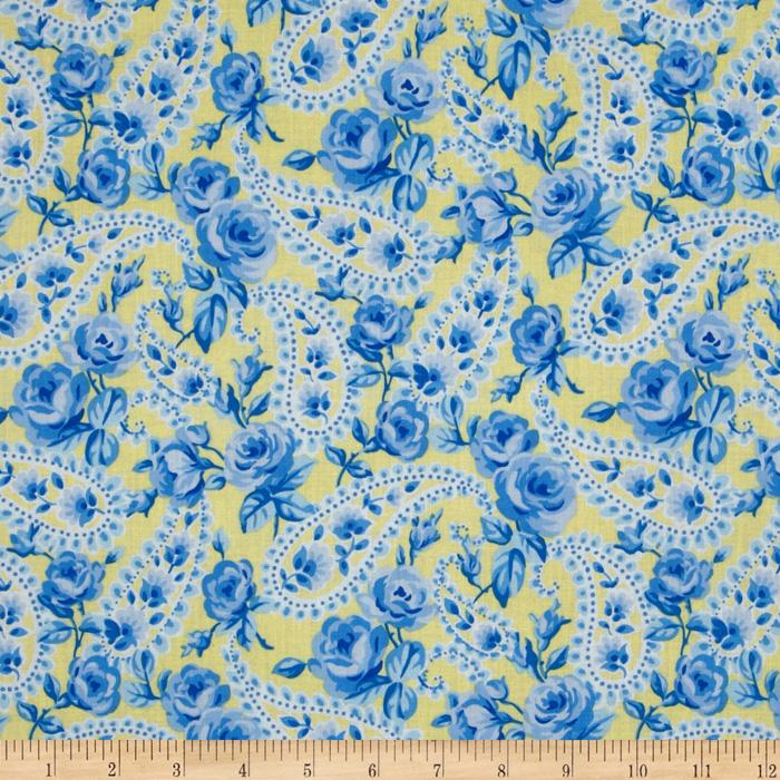 Timeless Treasures 'Floral Paisley Yellow