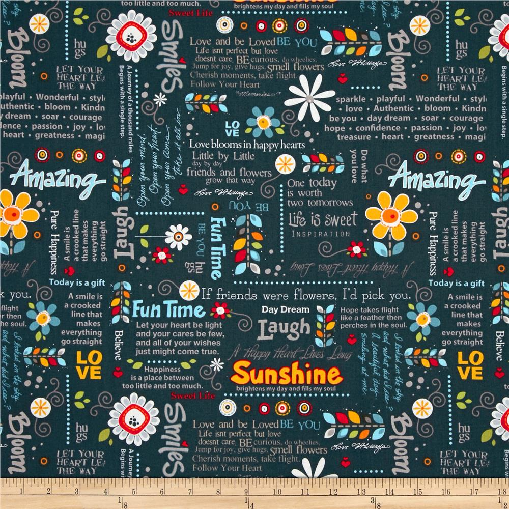 Wild Flowers Sunshine Wordplay Navy