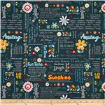 0297073 Wild Flowers Sunshine Wordplay Navy