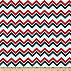 Minky Cuddle Classic Mini Zig Zag Baby Blue/Red/Slate