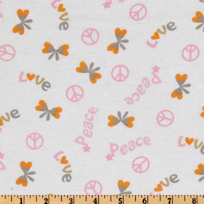 Peace & Love Flannel  Butterflies White