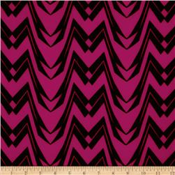 Chevron Stripe Jersey Knit Magenta/Black