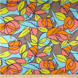 Rayon Challis Leaves Tan Mint Maze