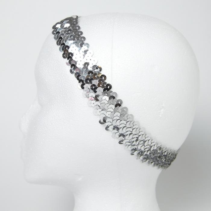 1 1/4&quot; Metallic Sequin Stretch Headband Silver