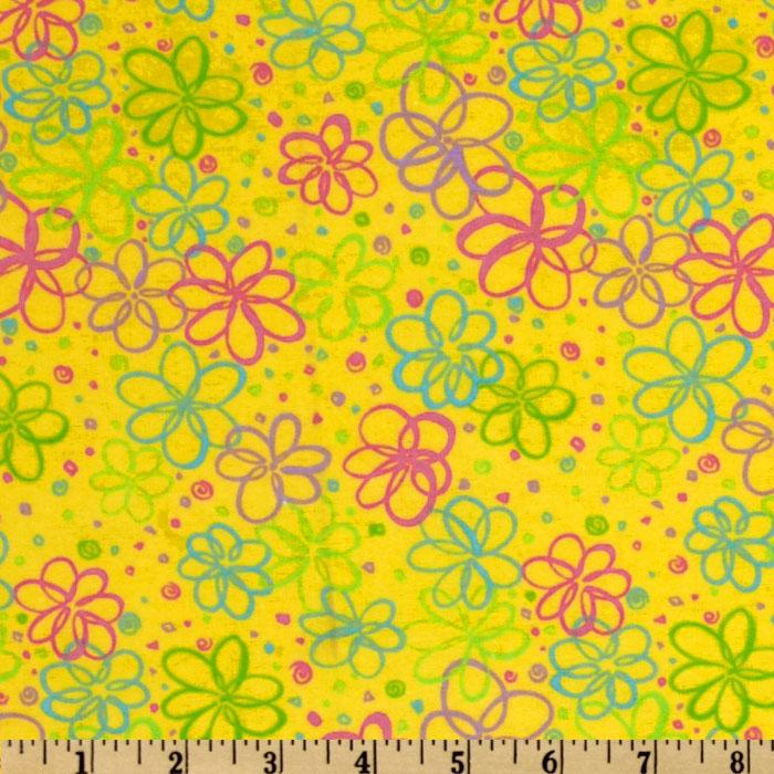 Sweet Taffy Flannel Daisies Yellow