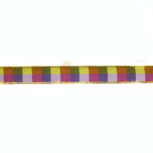 1/2&#39;&#39; Check Stitch Ribbon Purple/Lavender/Green