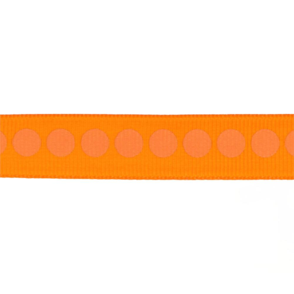 "Riley Blake 5/8"" Grosgrain Ribbon Polka Dot Orange"