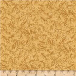 Moda Round Robin Flower Toss Goldenrod Yellow