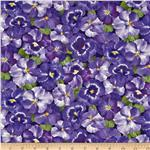0301789 Timeless Treasures Dream Packed Pansies Purple
