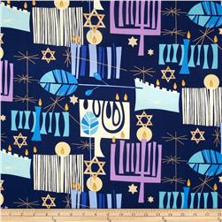 Happy Hannukah! Modern Menorah Dark Blue