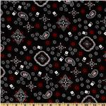Bandana Small Paisley Medallion Black