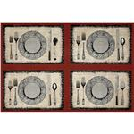FR-088 Michael Miller Bon Appetit Place Settings Panel  Flax