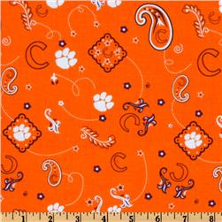 Collegiate Cotton Broadcloth Clemson University Bandana Orange