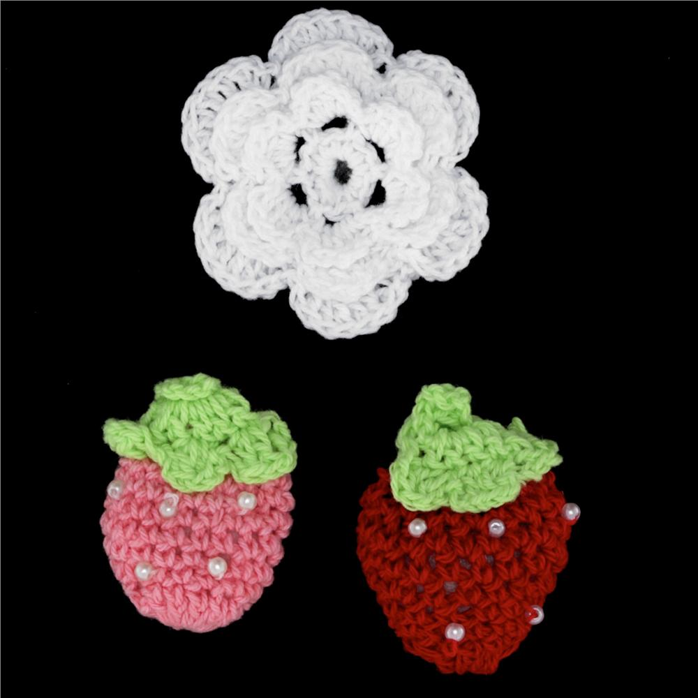 Riley Blake Sew Together Crochet Flower &amp; Strawberries 3 pk