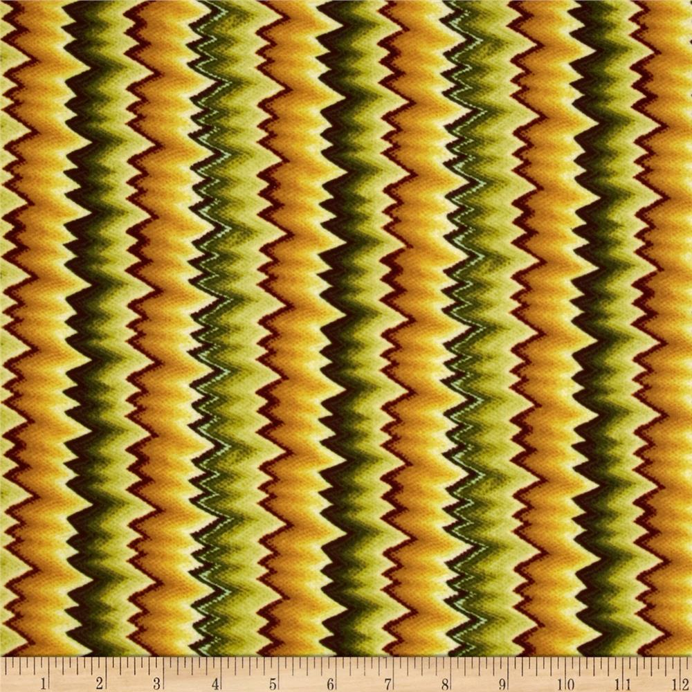Williamsburg Virginia Flame Stitch Green/Gold
