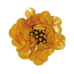 Small Flower Sequin Applique Mustard