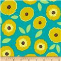 Flannel Abstract Poppies Turquoise