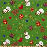 FF-469 Country Christmas Scattered Snowmen Green