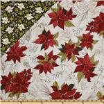 Winter Song Double-Sided Quilted Poinsettias White