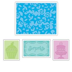 Sizzix Textured Impressions Embossing Folders 4 Pack-Birthday Surprise Set