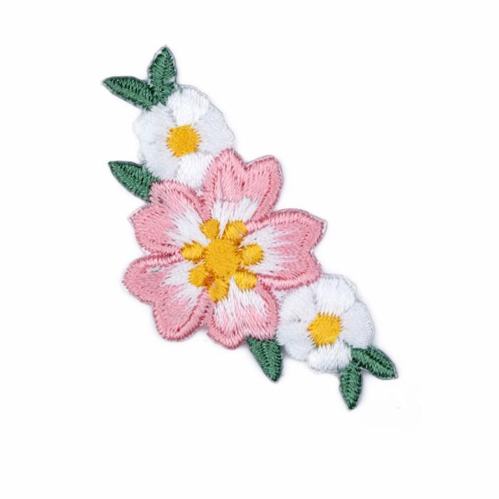 Boutique Applique Flower Trio White/Pink