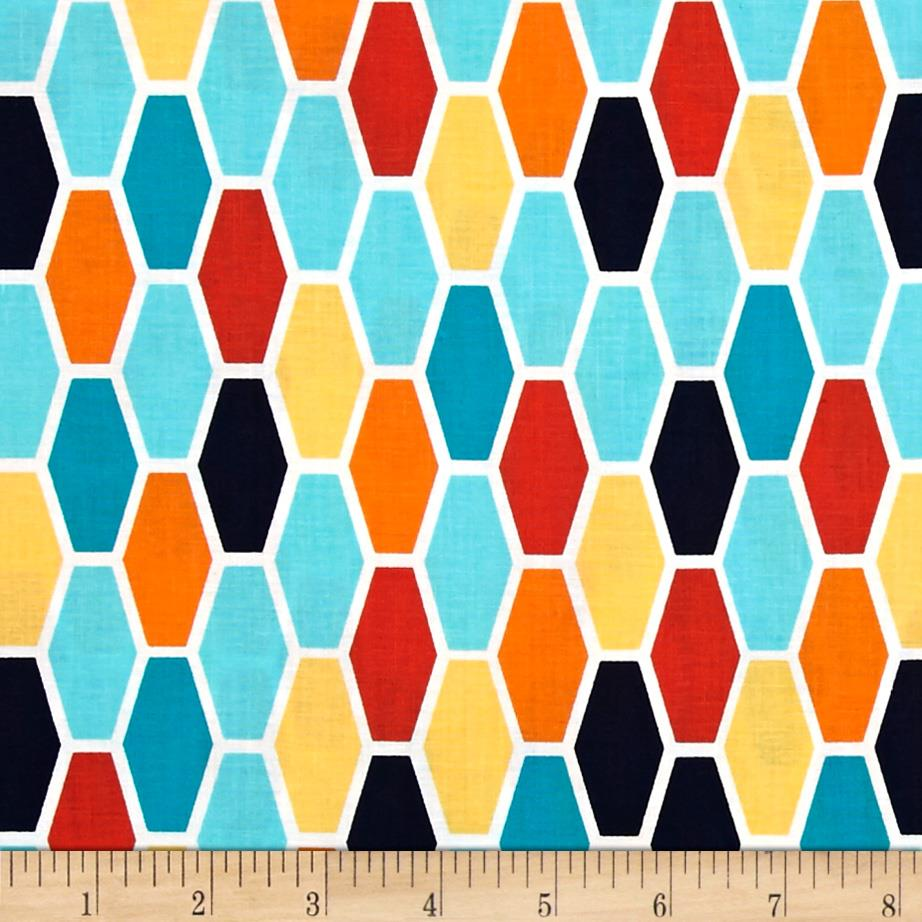 Michael Miller Technicolor Hexagons Turquoise