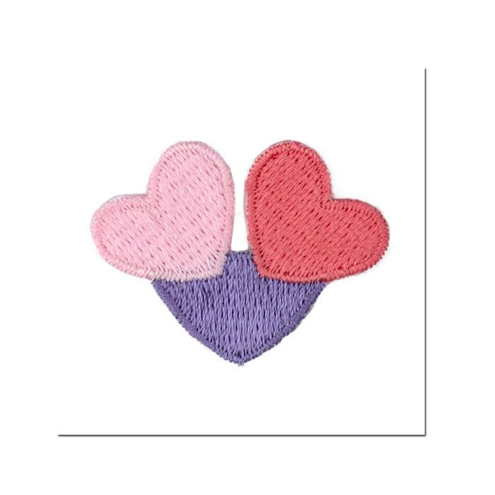 Boutique Applique Heart Trio Lavender/Pink/Light Pink