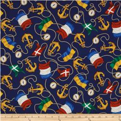Sail Away Nautical Flags & Anchors Navy