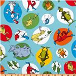 UN-843 Celebrate Seuss Slicker Laminated Cotton Characters Aqua