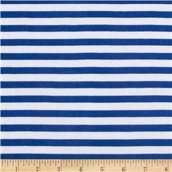 Stretch ITY Knit Stripes Royal/White