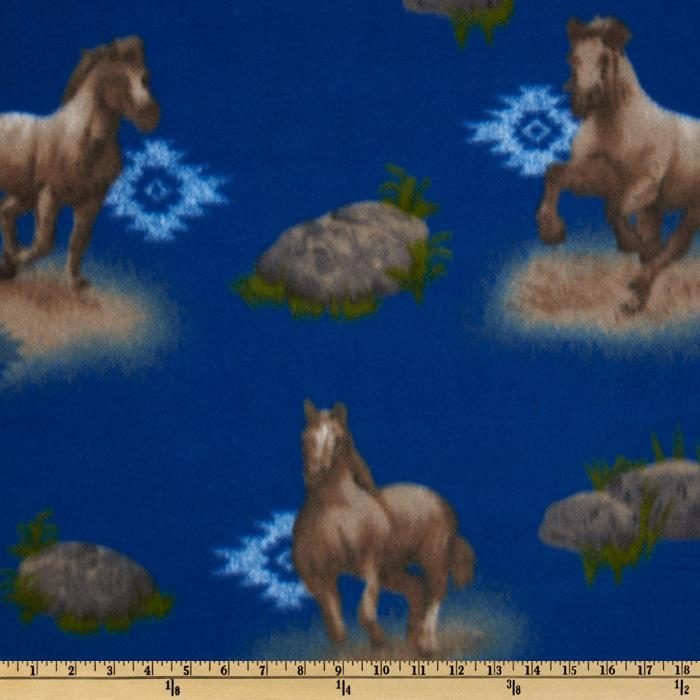 Novelty Fleece Horses Blue