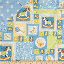 Baby Talk Double Sided Quilted Rocking Horses & Ducks Blue