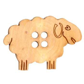 Novelty Button 1 3/8&#39;&#39; Sheepish Ewe Wood Natural