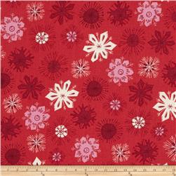 Modern Christmas Snowflakes Red