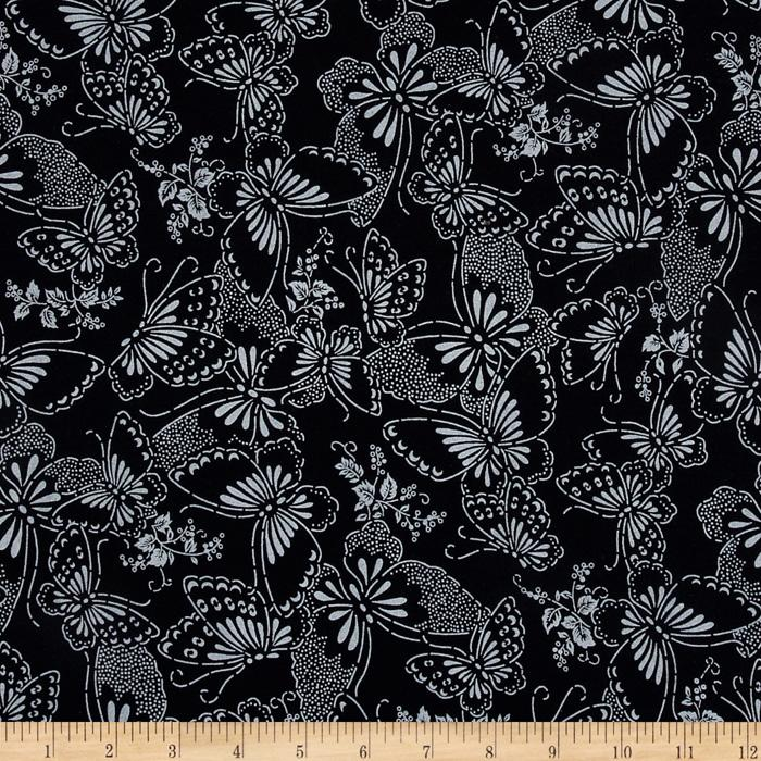 "110"" Wide Quilt Backing Butterfly Black/White"