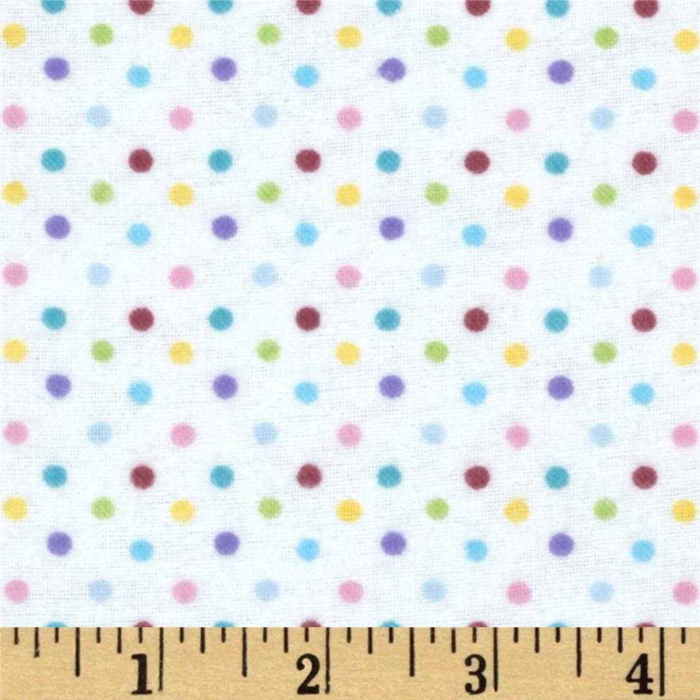Day in the Park Flannel Polka Dots White