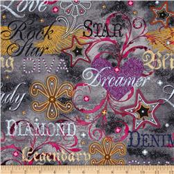 Diamonds & Denim Denim Verbiage Gray