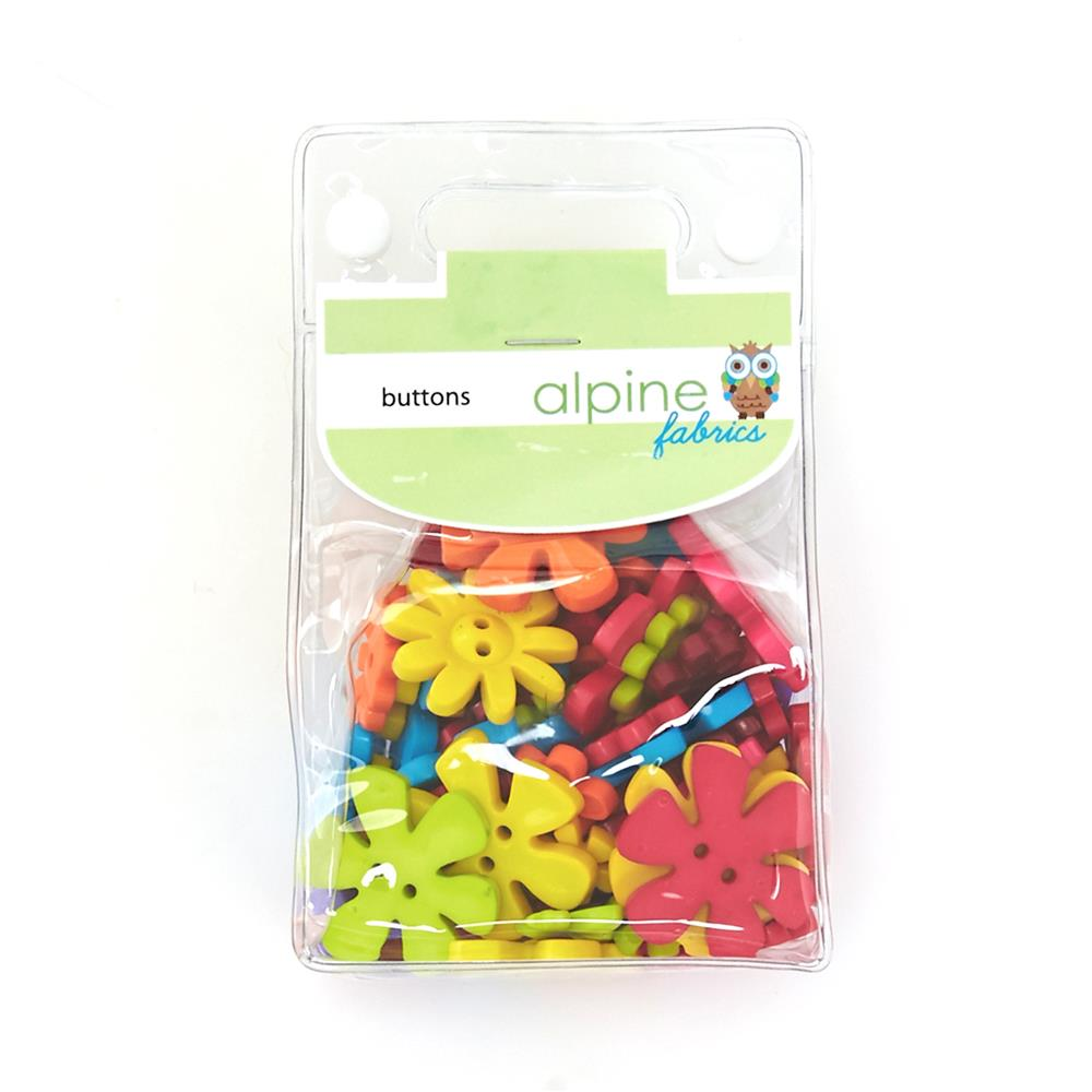 Alpine Fabrics Novelty Package Buttons Brightflower