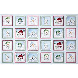 Snow Much Fun Snowman Panel Patchwork Blue