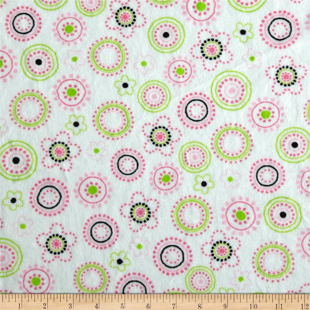 Minky Cuddle Floral Dots Lime/Pink