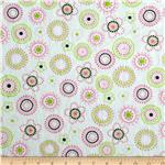 0283704 Minky Cuddle Floral Dots Lime/Pink
