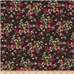 Serenade Rayon Challis Evelyn Floral Red/Black