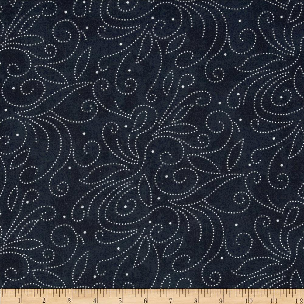 "110"" Wide Quilt Backing Scroll Navy"